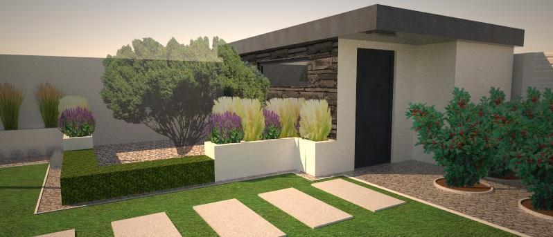 Modern Garden Linear324 - naša prímorská - uz vysadeny figovnik, vysadba v kochlikoch pri zahr. domceku je zatial orientacna ...