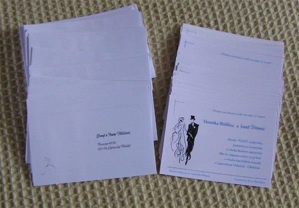 V & J . . . . . 26. august 2006 - vytlačenie, narezané, natlačené adresy na obálky a pripravené na odoslanie