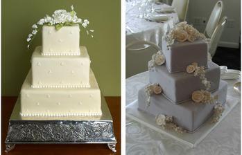 torta bude biela, ale jednotlivé poschodia budú pootočené ako na obrázku vpravo