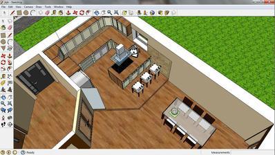 Kuchyň s barovým pultem spojeným s varnou plochou a jídejním stolem před dveřmy na terasu