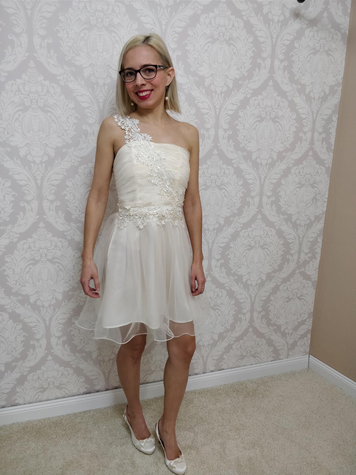 Krátke spoločenské šaty maslové XS - Obrázok č. 1