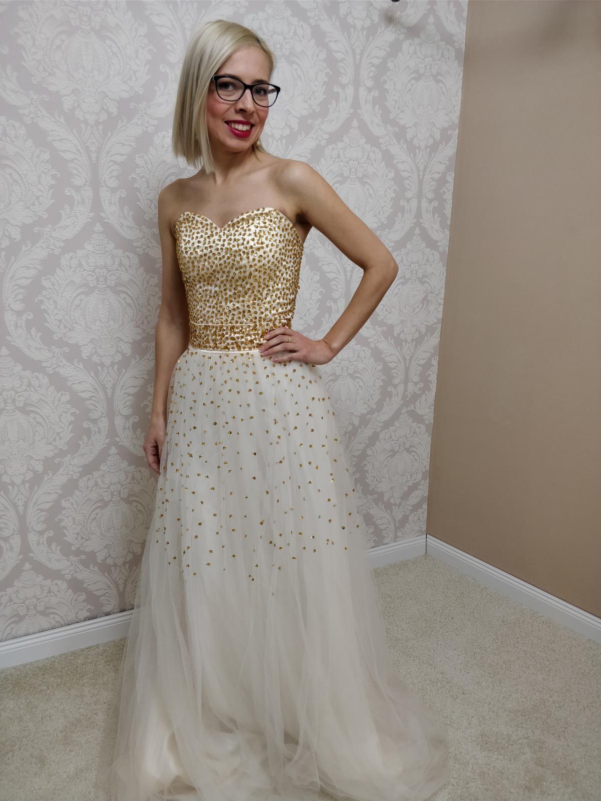 Dlhé spoločenské šaty  zlaté, M-L-XL - Obrázok č. 1
