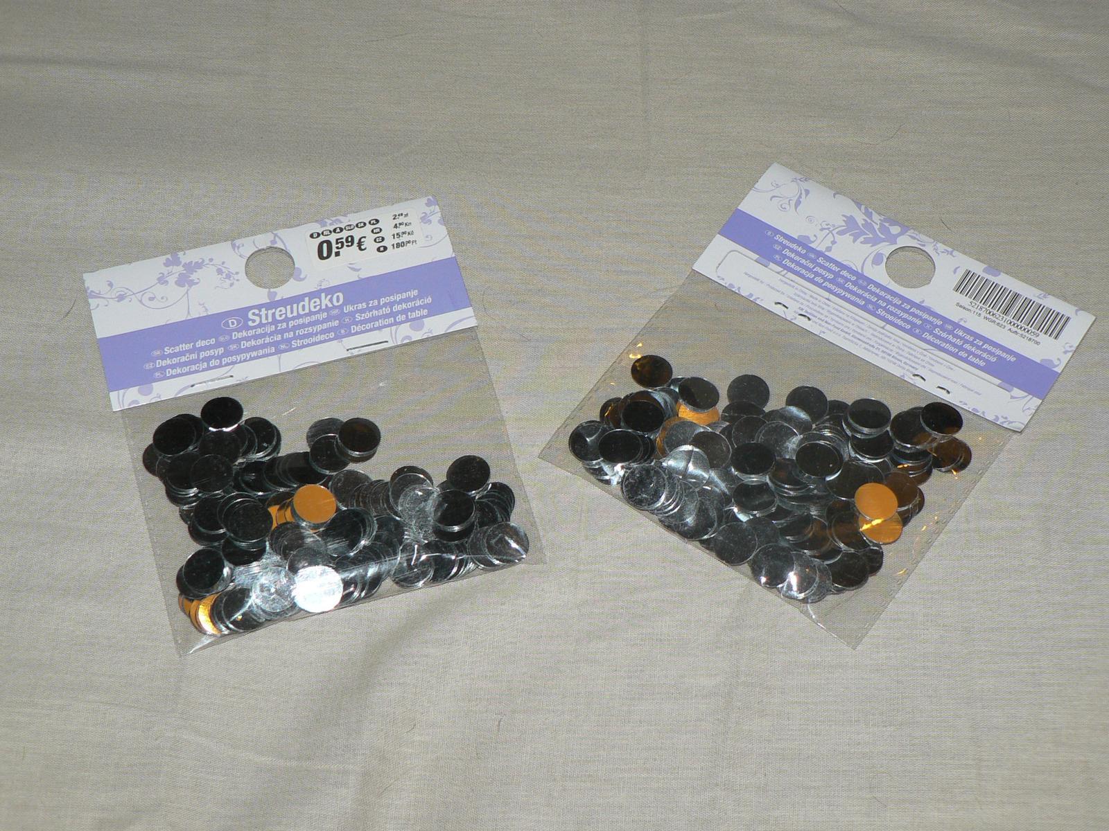Čo už máme... :) - konfety , asi na stol- 0,59eura KIK