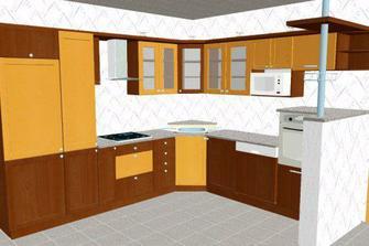 návrh naší kuchyně - kombinace vanilka a kalvados
