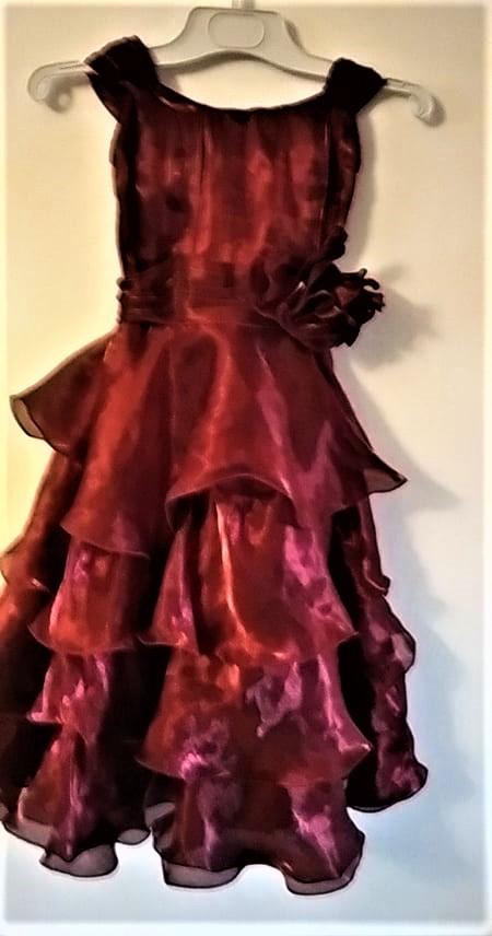 vínové  volánové šaty  pro dívenku ...92 cm délka - Obrázek č. 1