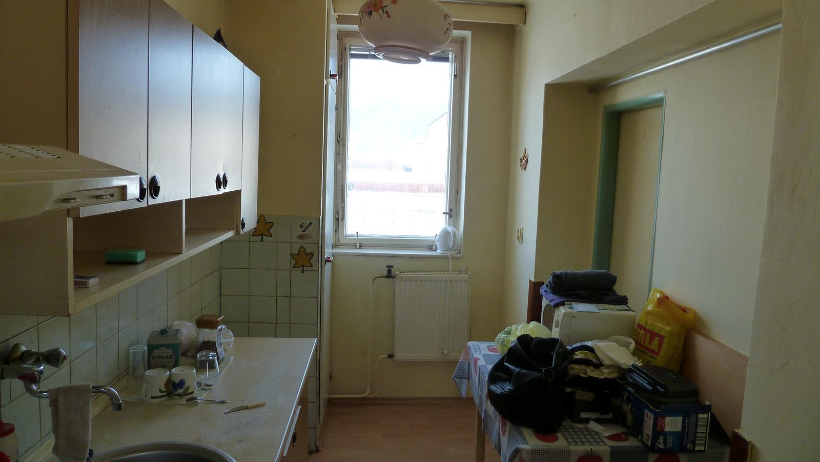 Projekt: Nové bývanie ... - ... kuchynka malá ale na varenie bude stačiť ... linka pôjde do L-ka až pod okno ...