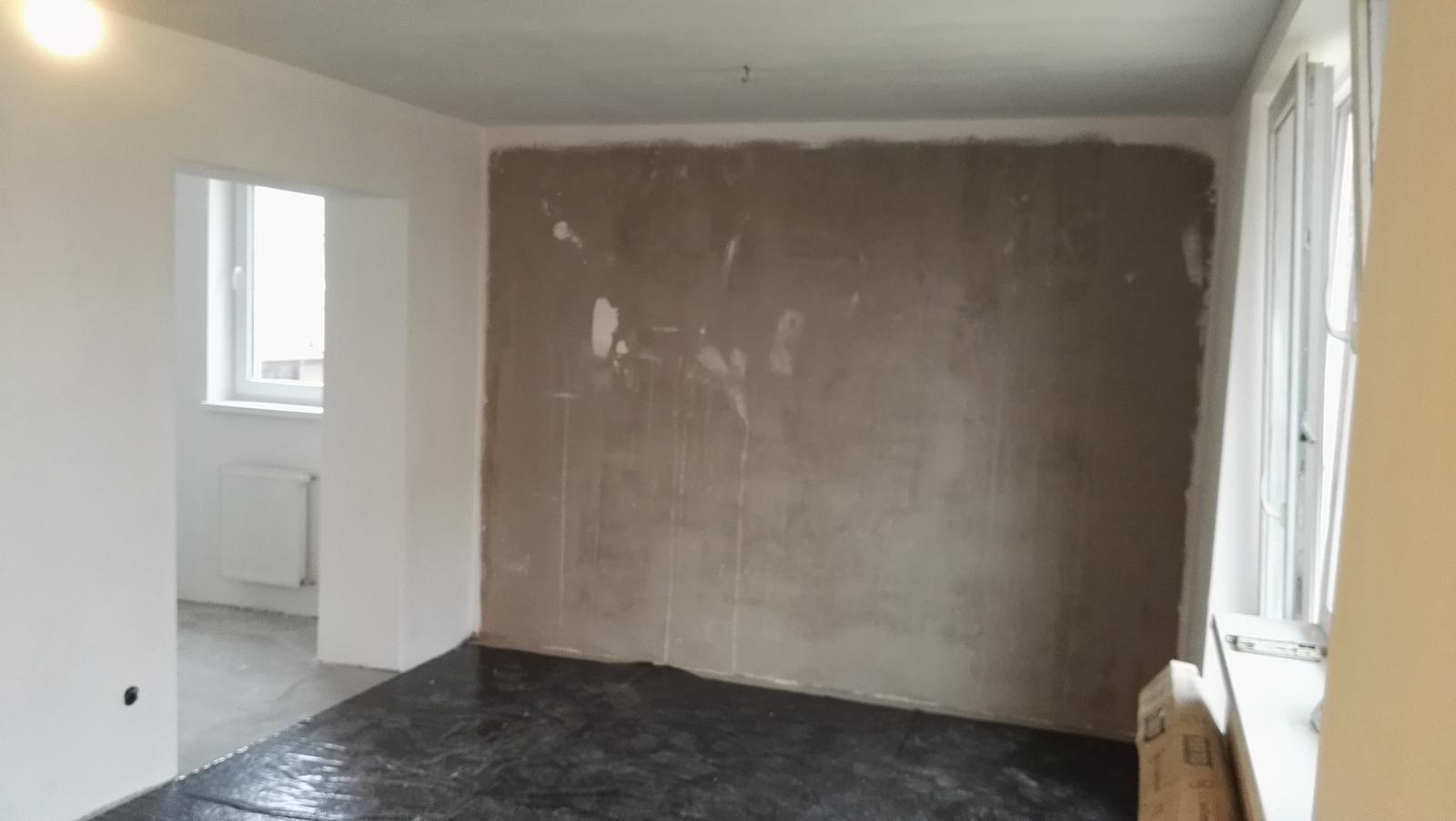 Projekt: Nové bývanie ... - ... obyvačko-kuchyňa, na stenu pôjdu tehličky...