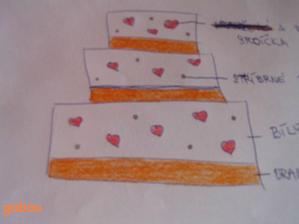 vlastní návrh dortu..no, berte to jako koncept, jo?Je totiž strááášně křivý a kreslený narychlo :-D