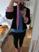 Černé sako s růžovým zdobením, 42
