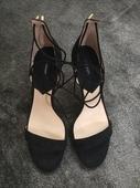 Čierne semišové sandálky MANGO, 38