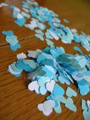 Modrobílý mix - konfety srdce - velké množství,
