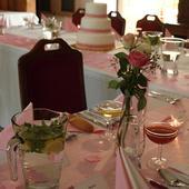 Svatební dekorace - satén a pavučinka,,