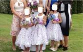 Družičkovské šaty bílofialové,