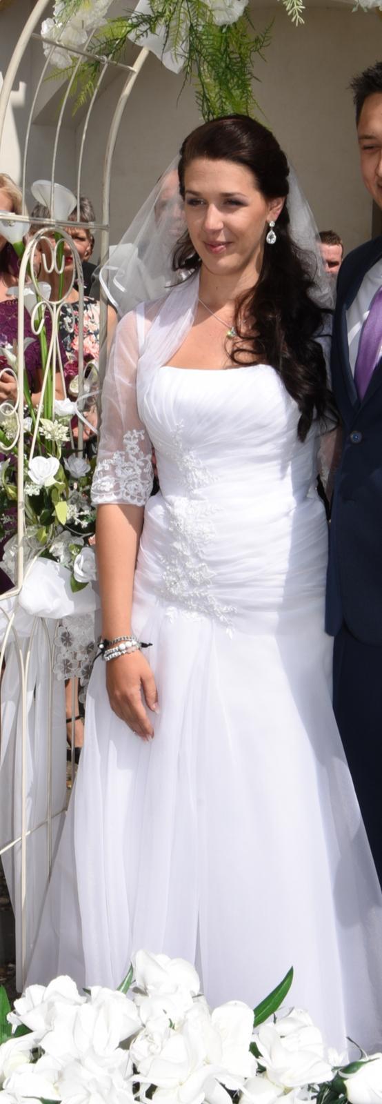 svatební šaty + závoj + bolerko - Obrázek č. 1