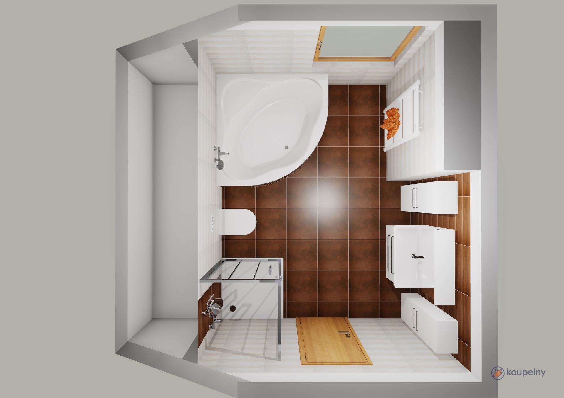 Koupelna podkroví- plány x realita - Obrázek č. 1