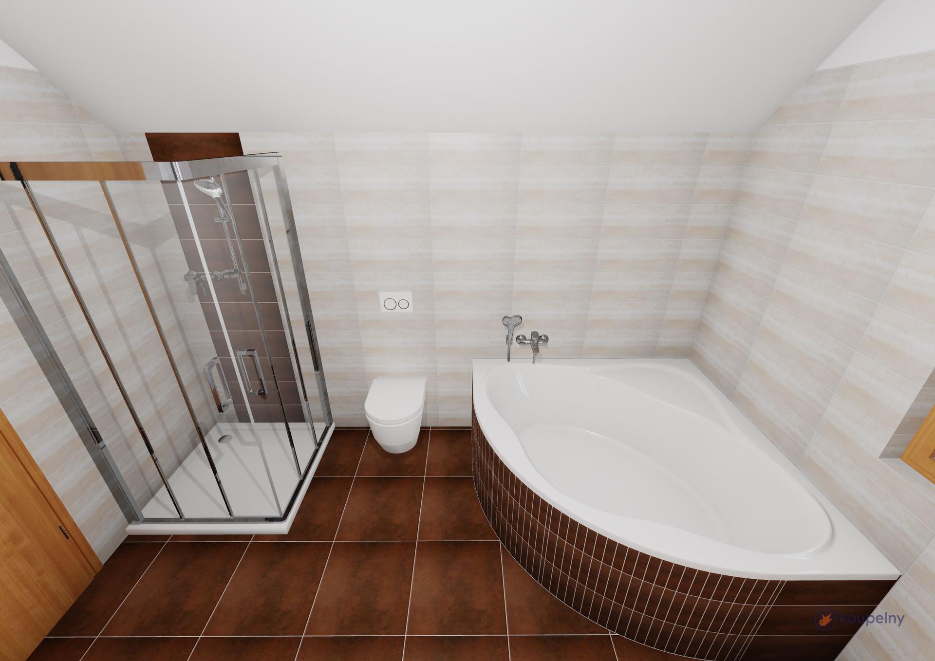 Koupelna podkroví- plány x realita - Obrázek č. 2