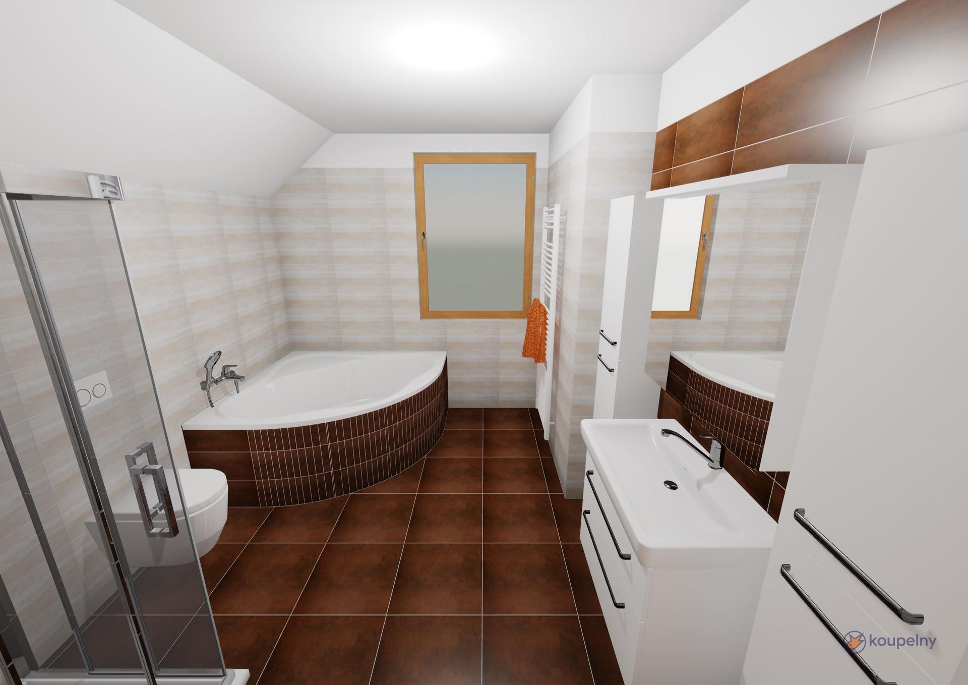 Koupelna podkroví- plány x realita - Obrázek č. 3