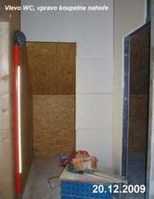 Příčky na wc a do koupelny v patře