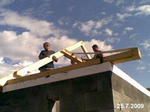 Střecha na garáži - začátek