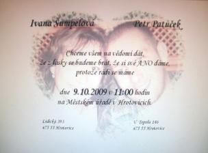 Můj návrh svatebního oznámení (naše první společné foto ;-) )