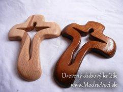 Drevený dubový krížik 20x14cm bez srdiečka - Obrázok č. 1