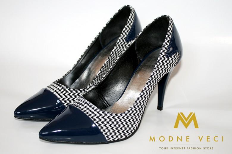 luxusne dámske lodičky modro-karované (39-40) - Obrázok č. 2