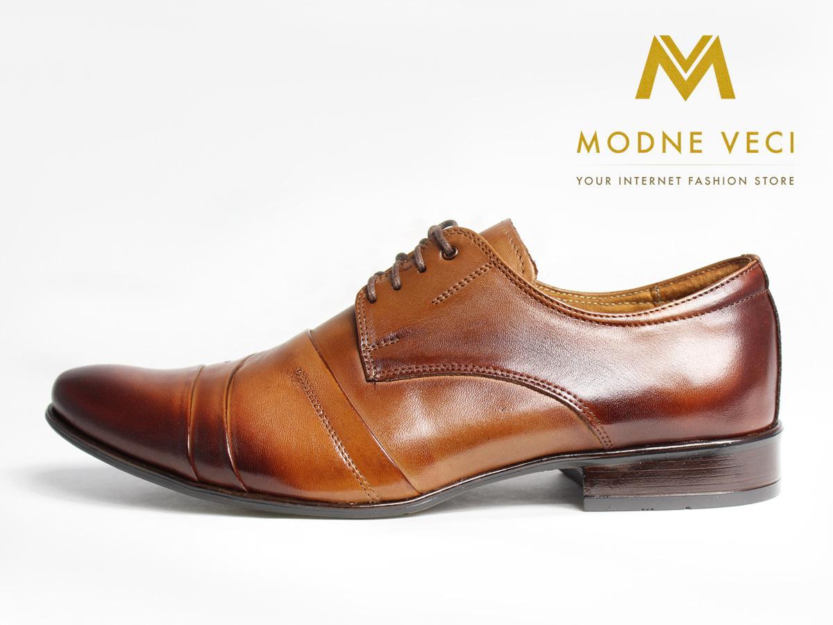 Kožené elegantné topánky 116 veľkosti 37-46 hnedé - Obrázok č. 1