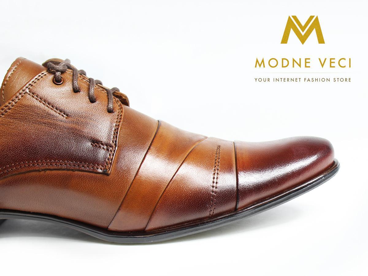 Kožené elegantné topánky 116 veľkosti 37-46 hnedé - Obrázok č. 2