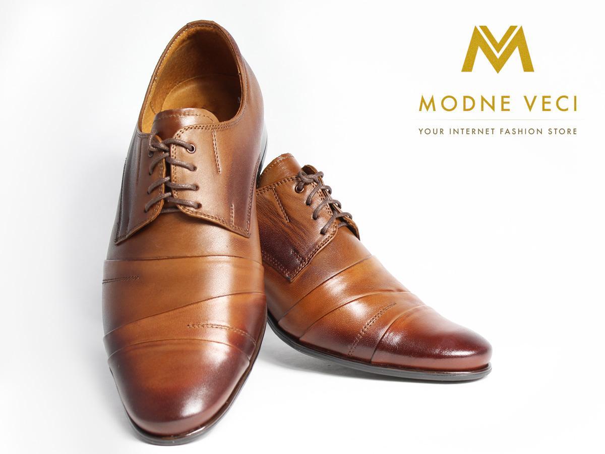Kožené elegantné topánky 116 veľkosti 37-46 hnedé - Obrázok č. 3