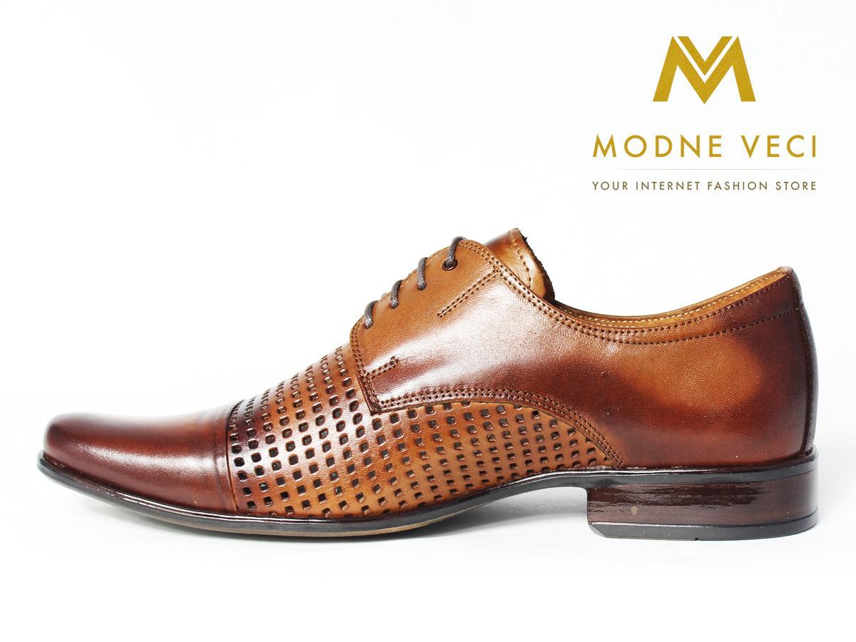 Elegantné kožené topánky 218 veľkosti 39-46 hnedé - Obrázok č. 1