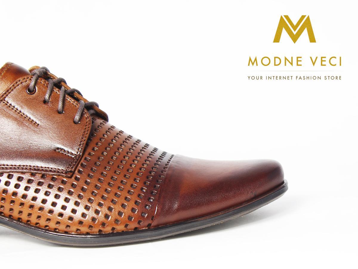 Elegantné kožené topánky 218 veľkosti 39-46 hnedé - Obrázok č. 2