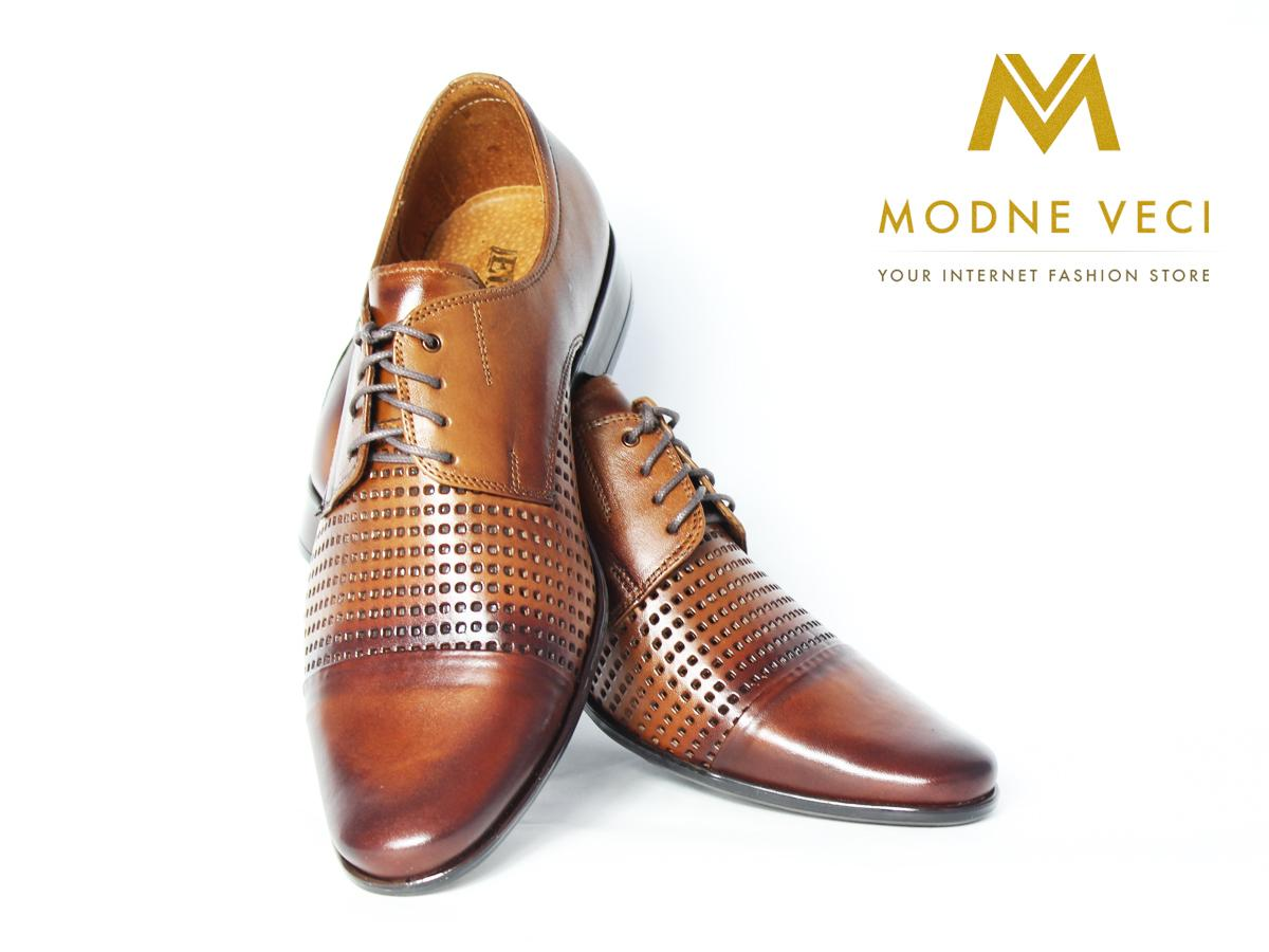 Elegantné kožené topánky 218 veľkosti 39-46 hnedé - Obrázok č. 3