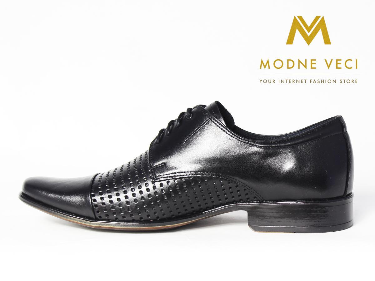 Elegantné kožené topánky 218 veľkosti 39-46 čierne - Obrázok č. 1
