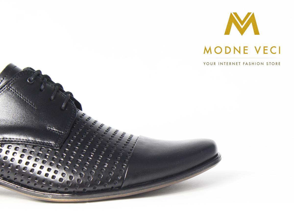 Elegantné kožené topánky 218 veľkosti 39-46 čierne - Obrázok č. 2