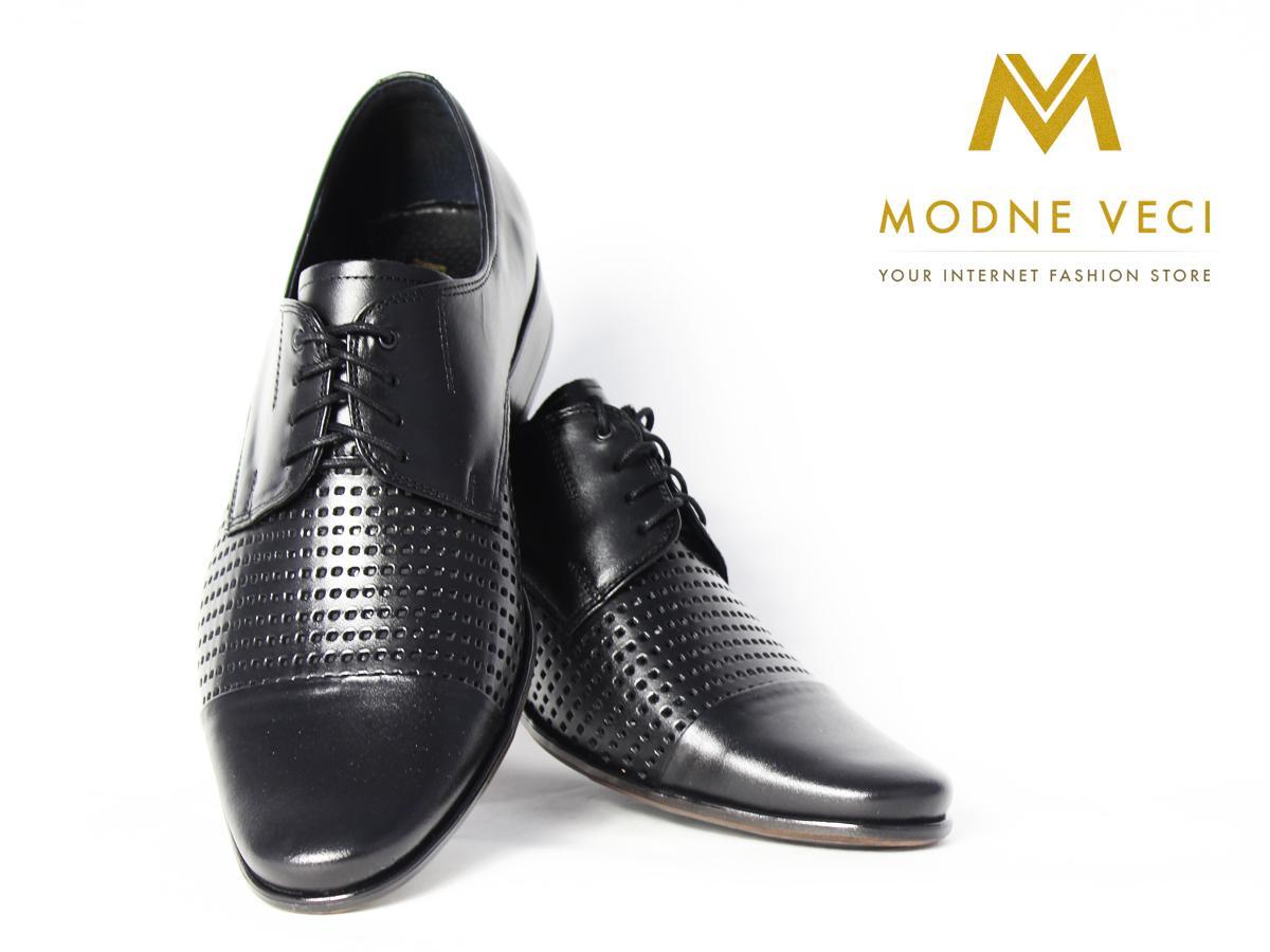 Elegantné kožené topánky 218 veľkosti 39-46 čierne - Obrázok č. 3