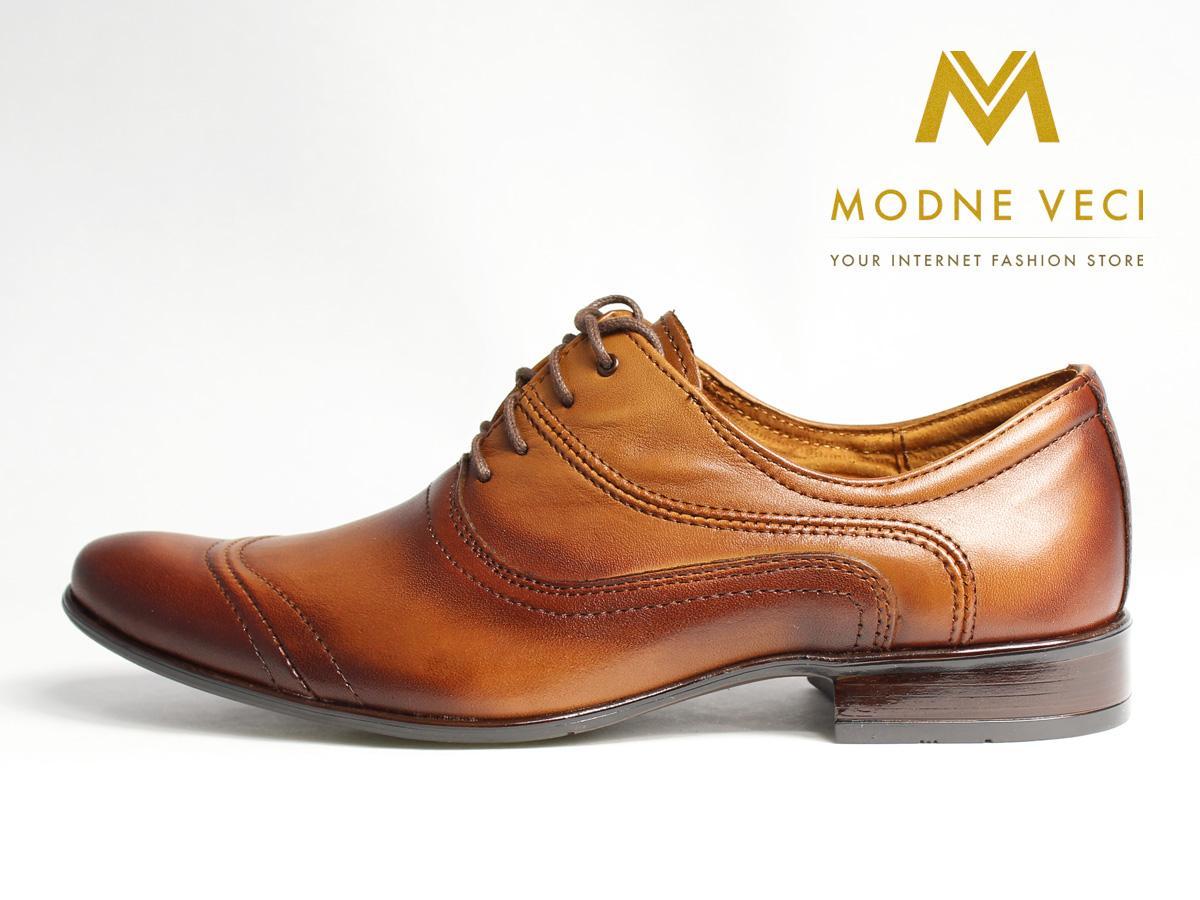 Hnedé elegantné topánky kožené 39-46 model 126 - Obrázok č. 1