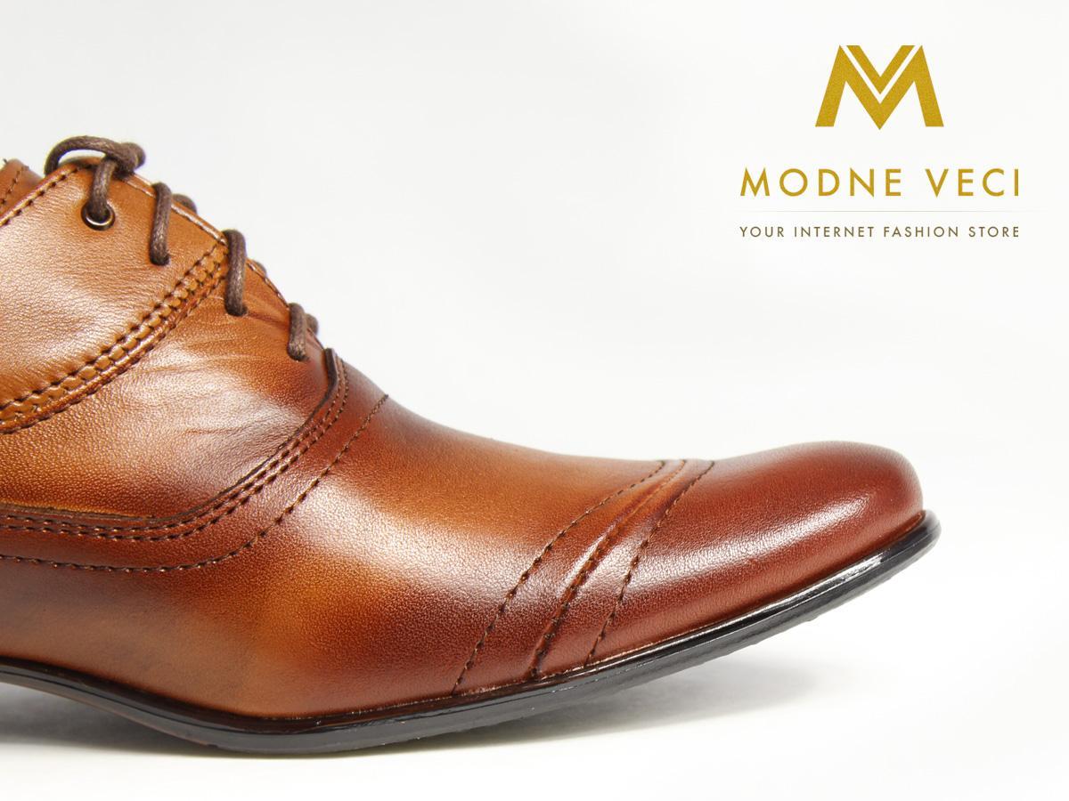 Hnedé elegantné topánky kožené 39-46 model 126 - Obrázok č. 2