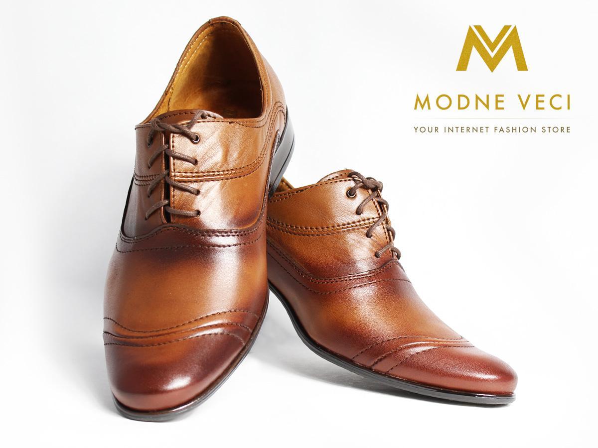 Hnedé elegantné topánky kožené 39-46 model 126 - Obrázok č. 3