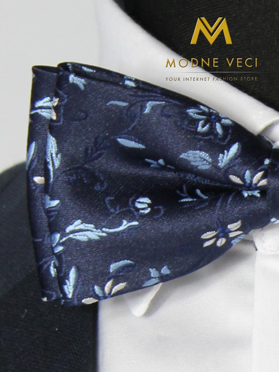 Pánsky kvetinový motýlik tmavo-modrý 08 - Obrázok č. 3