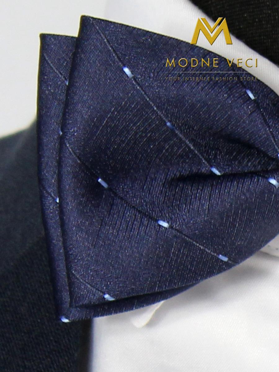 Tmavo modrý pánsky motýlik s vreckovkou do saka 16 - Obrázok č. 2