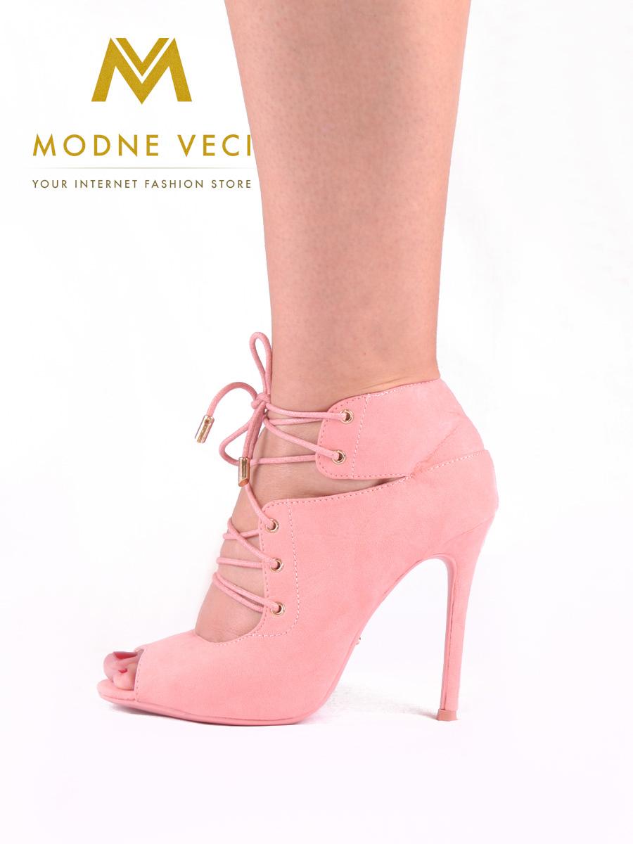 Moderné topánky s viazaním v ružovej farbe 35 - Obrázok č. 4