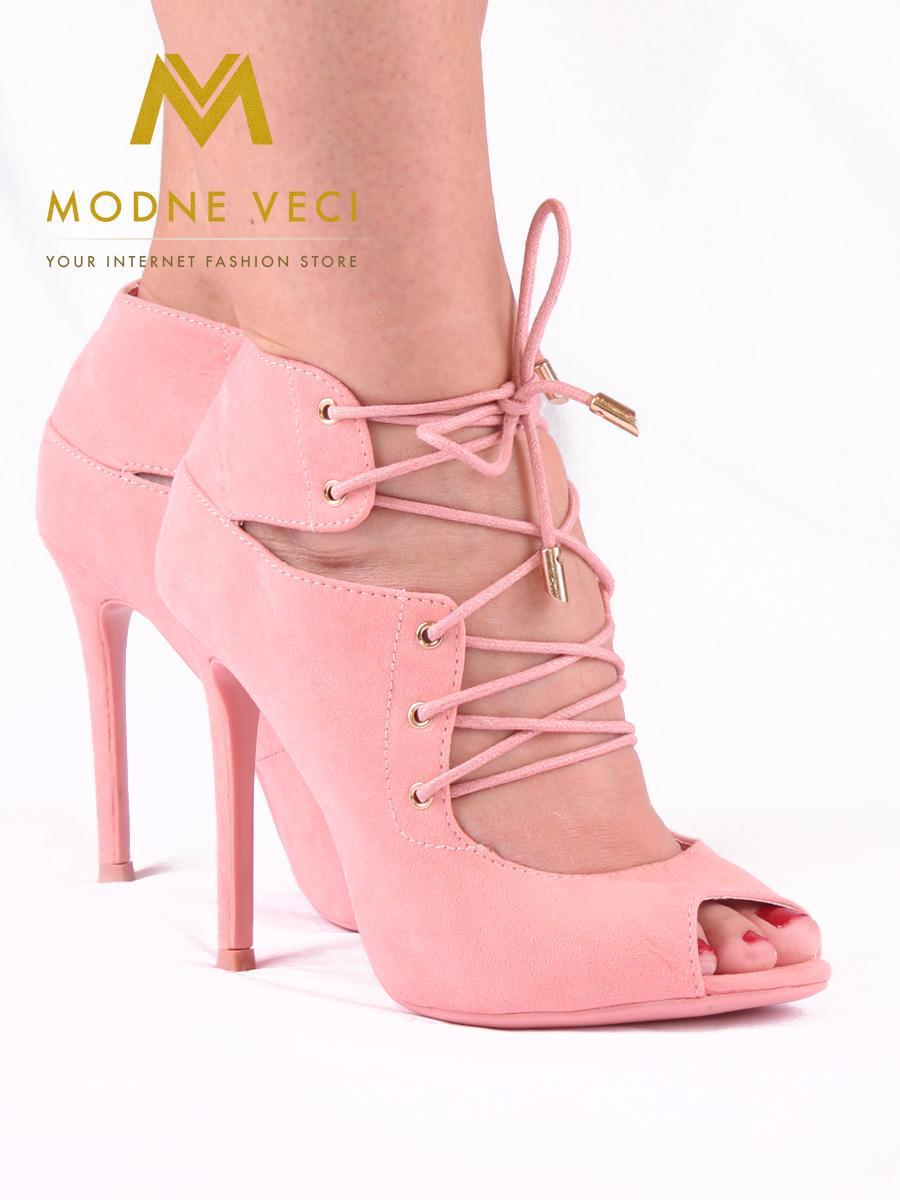 Moderné topánky s viazaním v ružovej farbe 35 - Obrázok č. 1