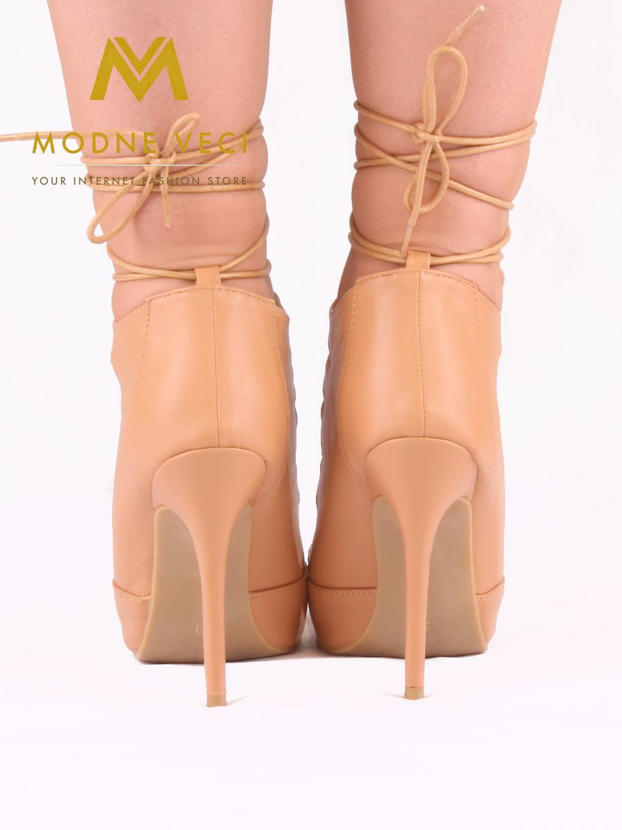 Trendy bežovo-hnedé topánky na šnurovanie 35-40 - Obrázok č. 2