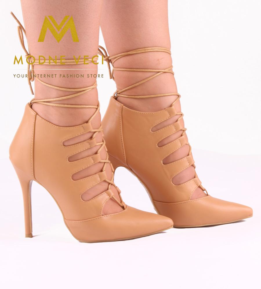 Trendy bežovo-hnedé topánky na šnurovanie 35-40 - Obrázok č. 1