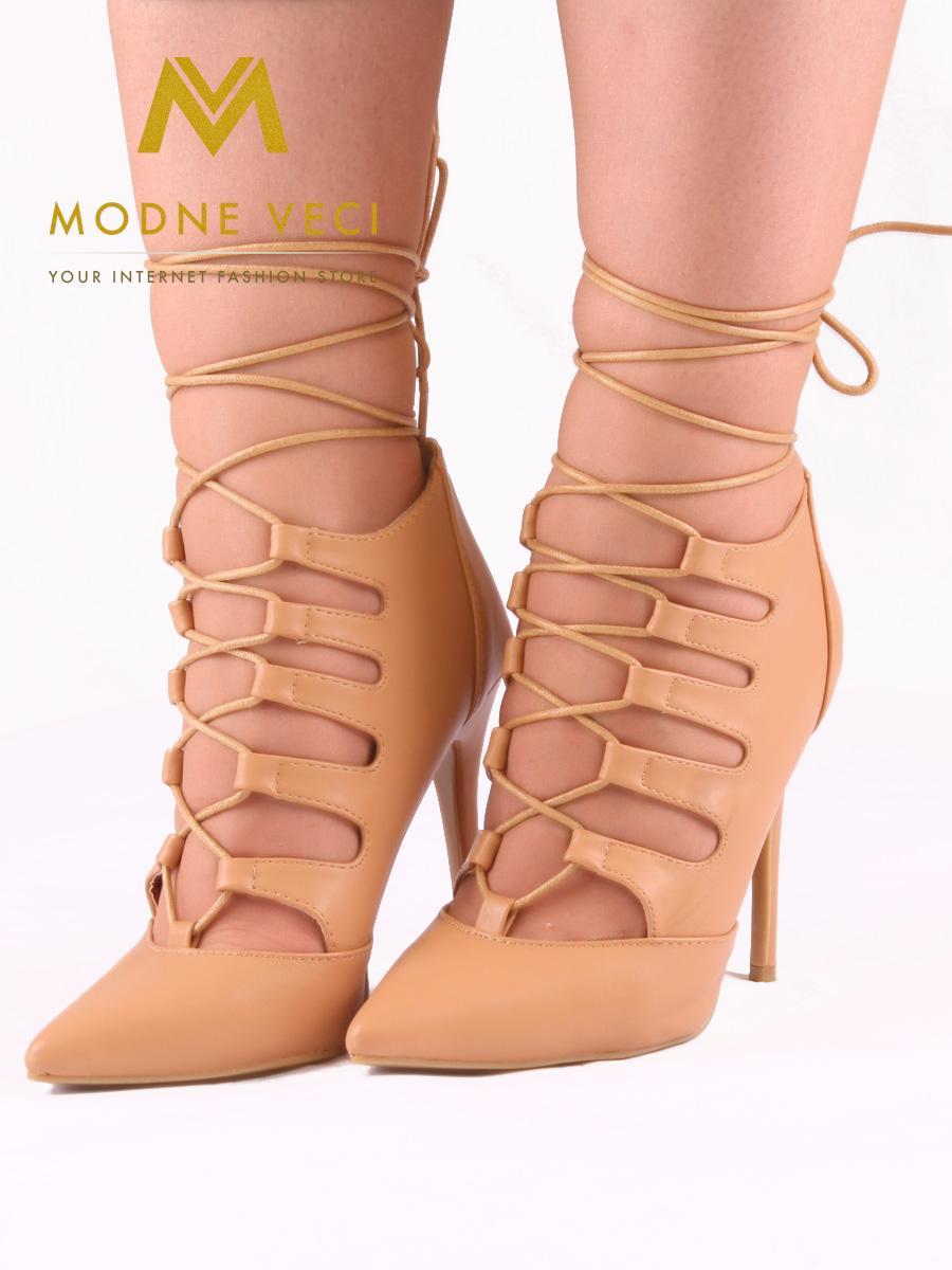 Trendy bežovo-hnedé topánky na šnurovanie 35-40 - Obrázok č. 4