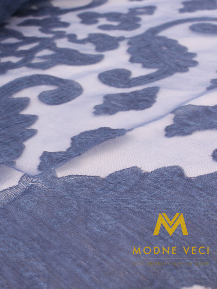 Hodvábna štóla/šatka H6 azúrovo modrá - Obrázok č. 3