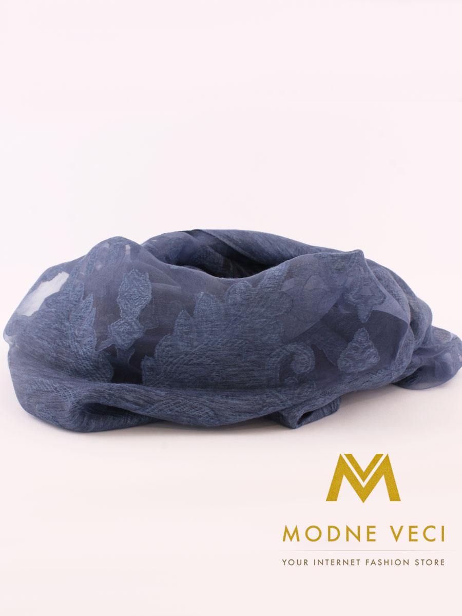 Hodvábna štóla/šatka H6 azúrovo modrá - Obrázok č. 2
