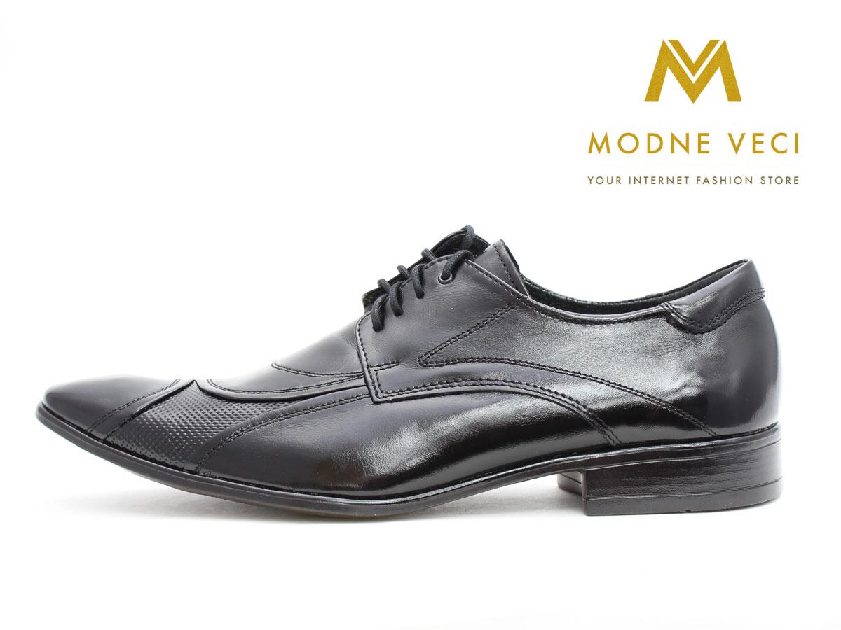 Pánske spoločenské kožené topánky čierne 135N - Obrázok č. 1
