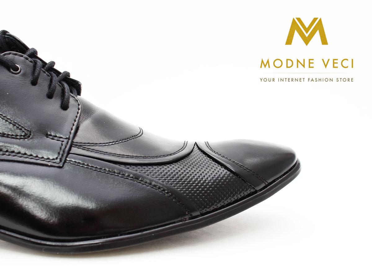 Pánske spoločenské kožené topánky čierne 135N - Obrázok č. 2