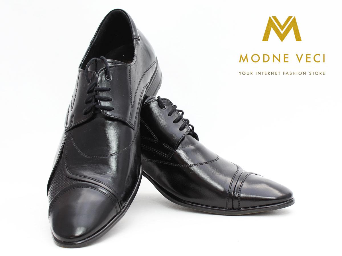 Pánske spoločenské kožené topánky čierne 135N - Obrázok č. 3
